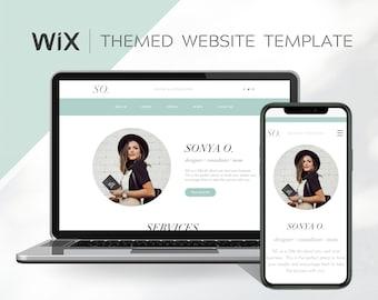 Minimal Wix Website Design/ Pale Green Wix Website Template/ Lifestyle Blogger Website/ Designer Blogger Wix Blog Template