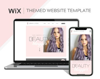 Pink Wix Theme/ Pink and White Hair Stylist Website Template/ Makeup Website Design/ Beauty Influencer Wix Template/ How to Build a Blog