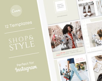 Fashion Blogger Instagram Set/ Personal Stylist Engagement Posts/ Outfit of the Day Instagram Posts/ Fashion Influencer Facebook Graphics