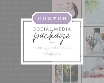 Custom Insta Templates + Captions/ Instagram Captions Copywriter/ Personalized Instagram Bundle/ Instagram Marketing Set/ Business Branding