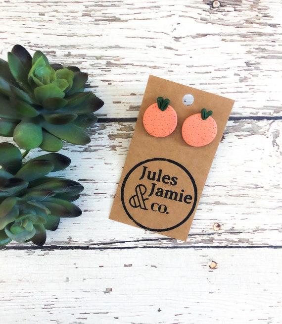 Peach Studs  Handmade Clay Earrings