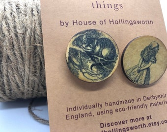 Set of Handcrafted Wooden Alice in Wonderland Brooches, Reclaimed Wood Brooch Pin, Brooch, Cheshire Cat Brooch Pin