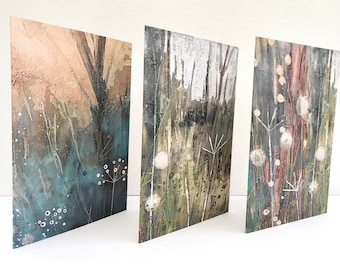 Fine Art Greetings Cards Pack of 3 Designs, Nature Lovers Cards, Botanical Cards, Gardeners Cards, Plant Lovers Cards, Lynne Hollingsworth