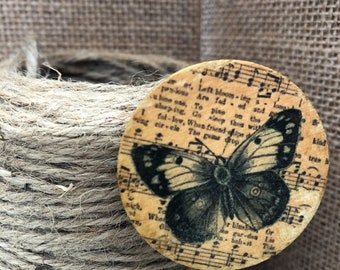 Handcrafted Wooden Circular Butterfly Brooch, Reclaimed Wood Brooch, Nature Lovers Wooden Brooch
