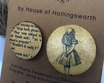 Set of Handcrafted Wooden Alice in Wonderland Brooches, Reclaimed Wood Brooch Pin, Eco Friendly Brooch, Book Lovers Brooch Pin