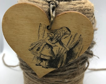 Original Handmade, Handcrafted Wooden Alice in Wonderland Keyring charm, Unique Gift for Book Lover, New Home Gift, key Chain for Purse Bag