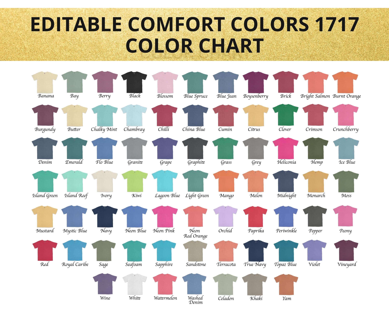 Comfort Colors 20 Color ChartComfort Color Color Chart 20Color Chart  for Comfort Colors 20 TeeComfort Color T Shirt color mockup