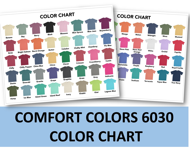 Comfort Colors 20 Color Chart  C20 Garment Dyed Heavyweight Pocket  T Shirt Color Chart  Comfort colors 20 tshirt Mockup, Flat Lay