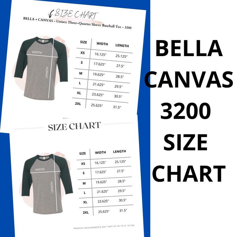 Bella Canvas 3200 Size Chart Bella 3200 Size BC3200 Bella 3200 Unisex Raglan Baseball T-Shirt 34 Sleeve Chart Bella Canvas Raglan Chart