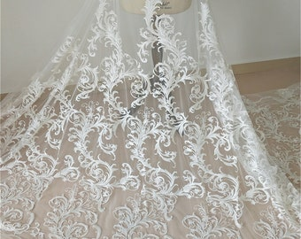 Vintage Embroideried Rose Lace Fabric Corded Flower Lace Mesh Floral Gauze for Wedding  Dress BridalGown 53 inch Width 0.5 Meter