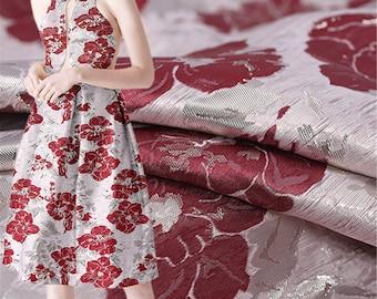 Elegant Fabric Brocade Fabric Jacquard Embossed Style Fabric Windbreaker Fabric Dress Making Fabric for Evening Dress 55 Inches Width