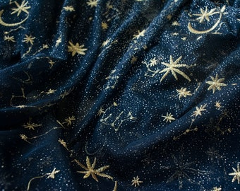 Star Moon Embroidery Organza Lace Embroidery Gold Glitter Floral Soft Tulle Fabric for Craft Projects Dress Train 51 inches Width by 1 yard