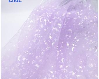 Glitter Galaxy Rainbow Print Tulle lace fabric Soft Mesh Constellation Lace Fabric Soft Tulle Fabric For Party Dress, Tutu, Princess dress