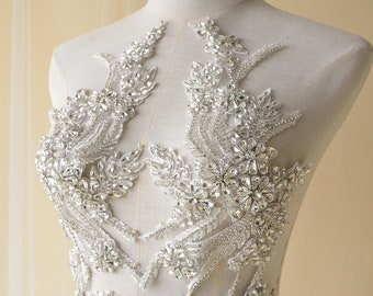 Silver Heavily Crystal Flower Patches Rhinestone Applique Embroidery Beaded Sewing Appliques for Bridal Gown Evening Bodice By 2 Pc