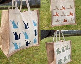 Natural Canvas & Jute Block Printed Bag