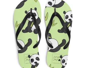 Panda Bear Green Bamboo Summer Slippers For Men