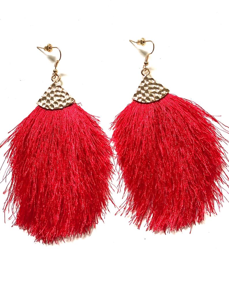 Festival colorful light earrings silk thread earrings, agave earrings