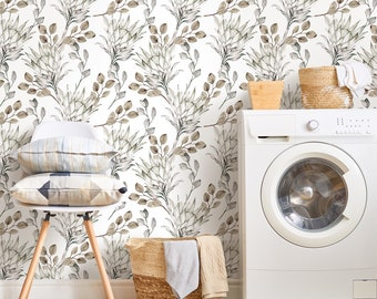 Walraime | Peel and Stick Wallpaper,Watercolor Branches Protea and Eucalyptes Leaves Pattern Wallpaper,Seamless Wall Stickers