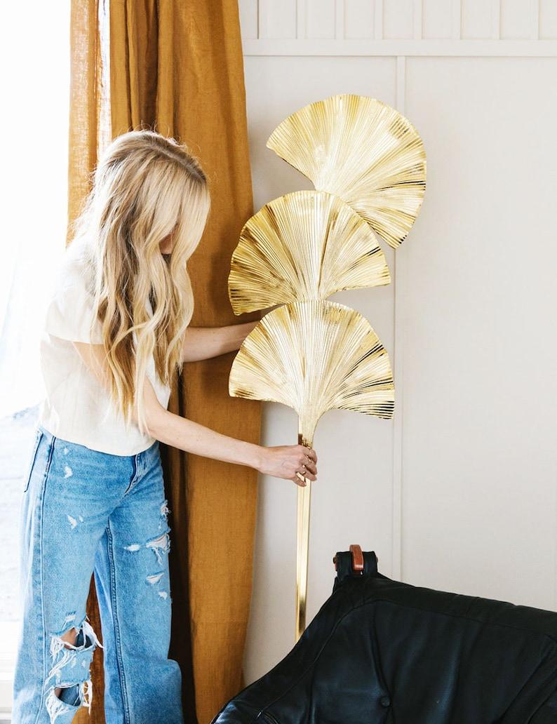 Gingko Leaf Floor Lamp Handmade Art Deco Gold Lamp Home image 0
