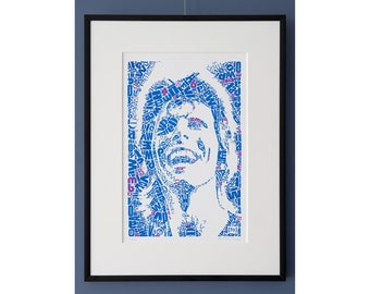 """Limited Edition David Bowie Risograph Print, edition of 20, Letterhead """"David type 1, B a bit like Bowie"""", Riso print, art, tribute"""