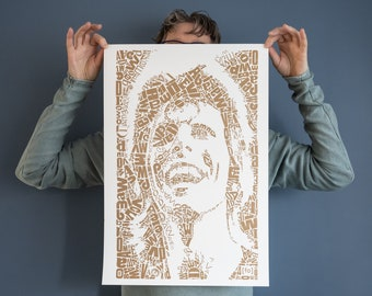 "Limited Edition David Bowie Risograph Print, edition of 25, Letterhead ""David type 1, gold"", Riso print, art, poster, dutch design, pop art"