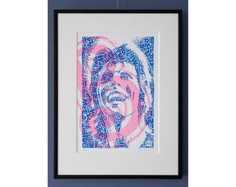 "Limited Edition David Bowie Risograph Print, edition of 25, Letterhead ""David type 1, B like Bowie"", Riso print, art, tribute, dutch design"