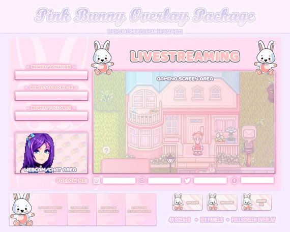 Cute Peach Panels for Streaming on Twitch and Others Streaming Twitch