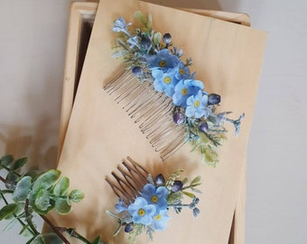 Handmade silk flower hair comb slide Floral accessory wedding bride bridesmaid flower festival gift her guest something blue forget me not