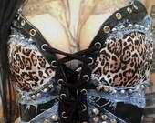 Molotov Clothing Corset Top Bustier Handmade Leopard Denim Leather Metal Punk Biker Studded Studs