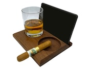 Walnut Puro Cigar Ashtray with Engraving and Phone Tablet Glass Holder