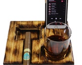 Country Pine Scorch Ashtray w Glass Phone Holder
