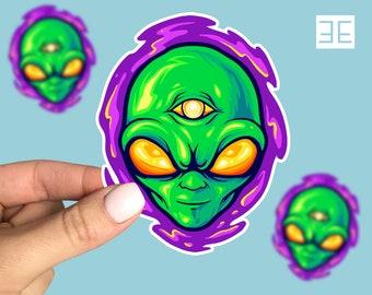 Retro Swirling Alien Head Vinyl Sticker, Retro Sticker, Ufo Sticker,  Laptop sticker