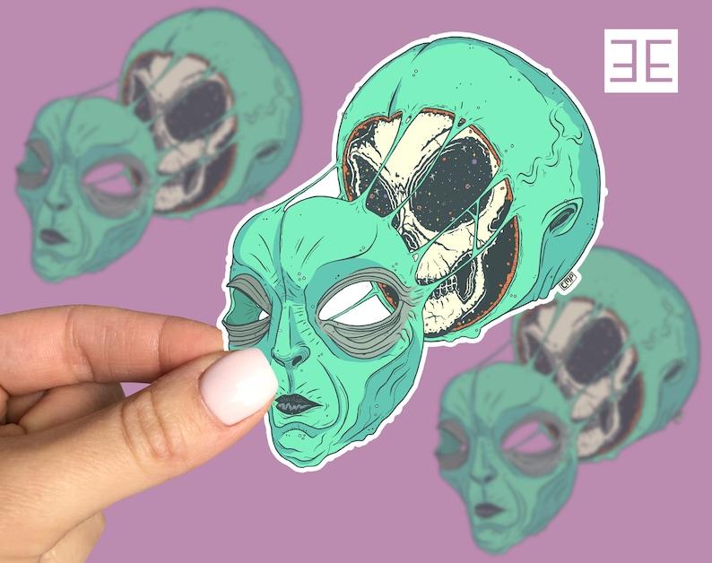 Space Face Alien Space Vinyl Sticker Decal image 1