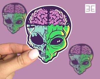 Retro Alien Scifi Skeleton Vinyl Sticker Decal