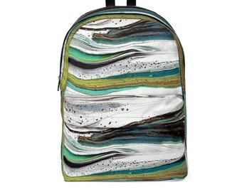Avant Garde Unisex Classic Backpack, Acrylic Pour Textile