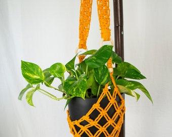 Yellow Macrame Plant Hanger | Indoor Hanging Plant Hanger with Tassel | Hanging Planters | Cotton Rope Flower Pot Holder