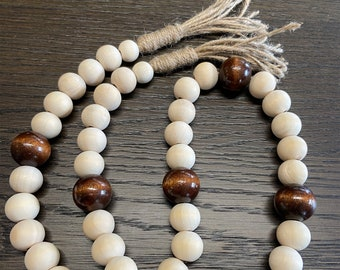 Boho Wood Bead Garland w/ Brown Accents