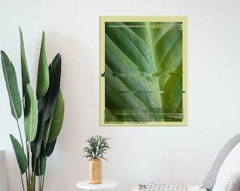 16x20 Modern Glitch Leaf Tropical Wall Art Canvas Print