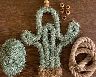 Rope macrame cactus wall decor with oil diffuser