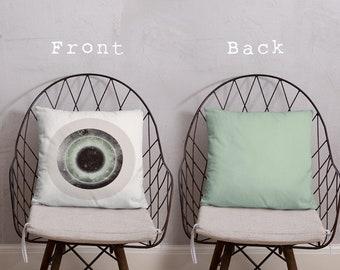 Gray Galactic Eye Decorative Square Throw Pillow Case