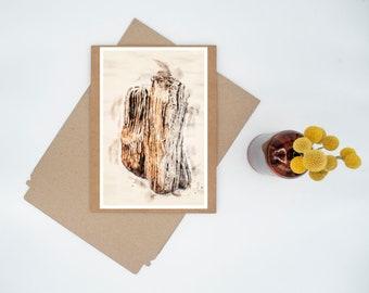 Drift Wood Digital Watercolor Minimalist Print Wall Art