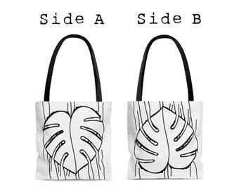 Reversible Monstera Heart All Purpose Tote Bag