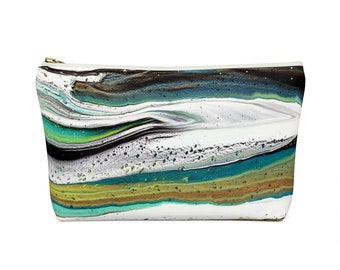 Abstract Accessory Pouch w T-bottom, Acrylic Pour Textile, 2 sizes