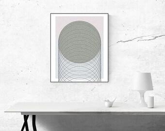 Minimalist Circle Shapes Geometric Wall Art Print