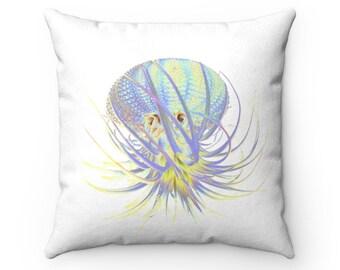 Rainbow Succulent Octopus Faux Suede Square Pillow Case