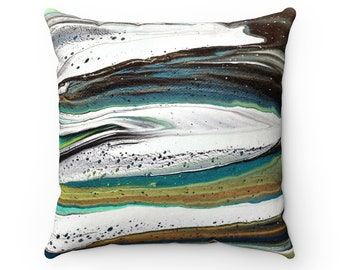 Abstract Waves Faux Suede Square Pillow Case