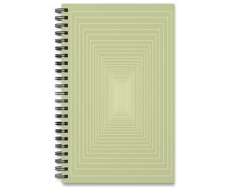 Minimalist Sage Green Rectangle 'Thought Collector' Spiral Bound Journal