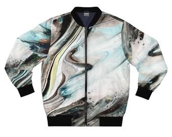Abstract Unisex Bomber Jacket, Acrylic Pour Textile
