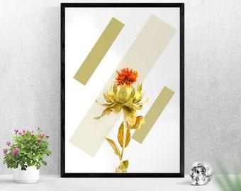 Shape and Flower Geometric Minimalist Bohemian Print Wall Art
