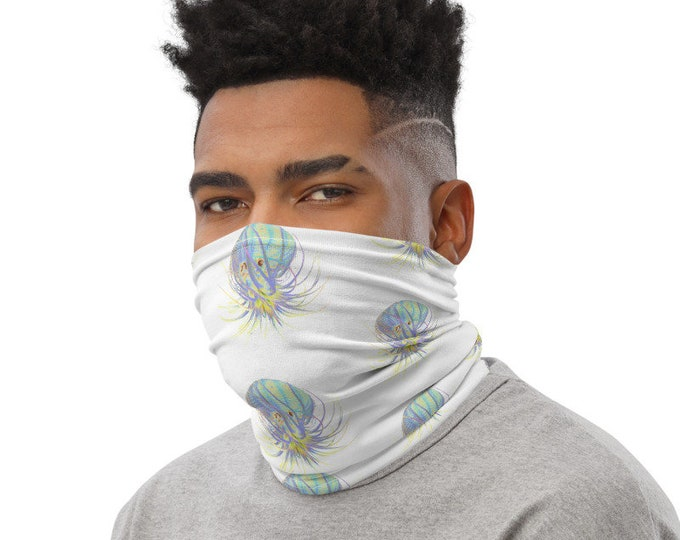Neon Succulent Octopus Neck Gaiter Face Mask